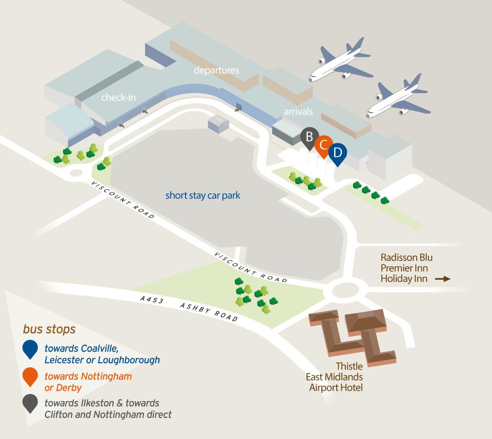 East Midlands Airport Map skylink247   trentbarton