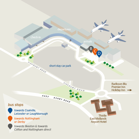 East Midlands Airport Map the airport   trentbarton