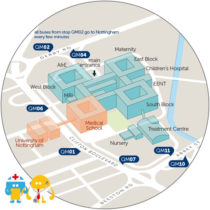 Nottingham City Hospital Map QMC hospital   trentbarton