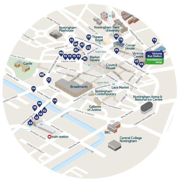 Map Of Uk Nottingham.Nottingham City Centre Trentbarton