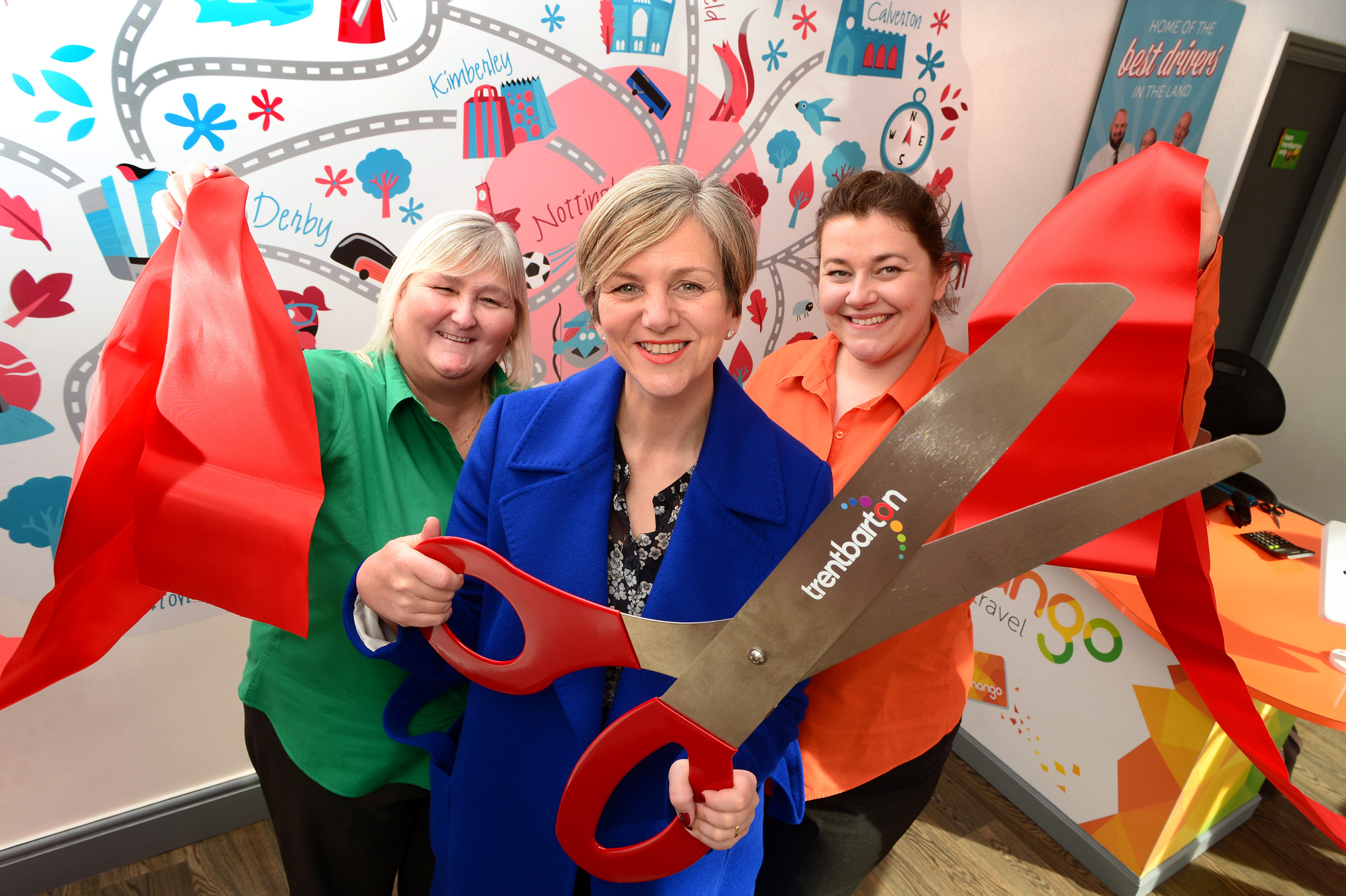 Lillian Greenwood MP (centre) with trentbarton's Angie Woodhouse (left) and Claire Chamberlain (right) at the new travel shop on Maid Marian Way.