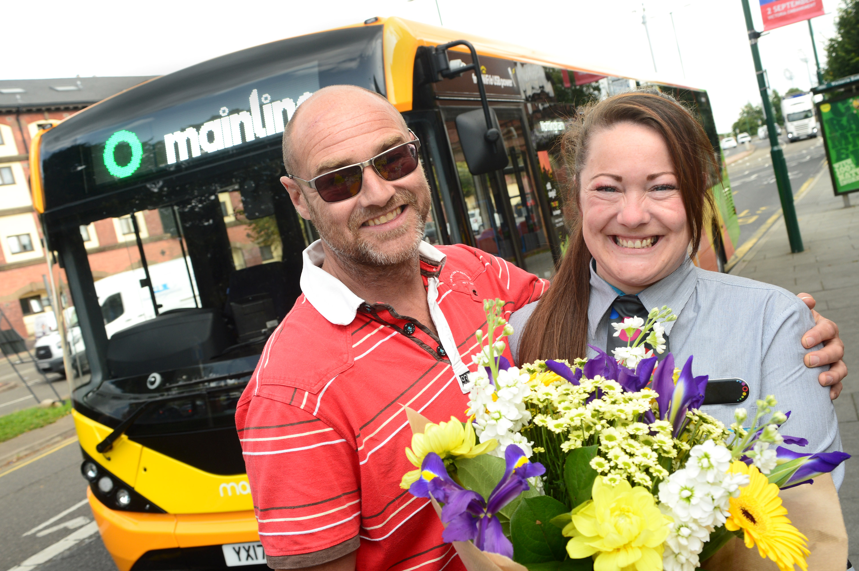 trentbarton driver Rachael Bullous (right) is reunited with a fully recovered Dirk Vervoorts