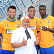 the threes and Mansfield Town FC celebrate together
