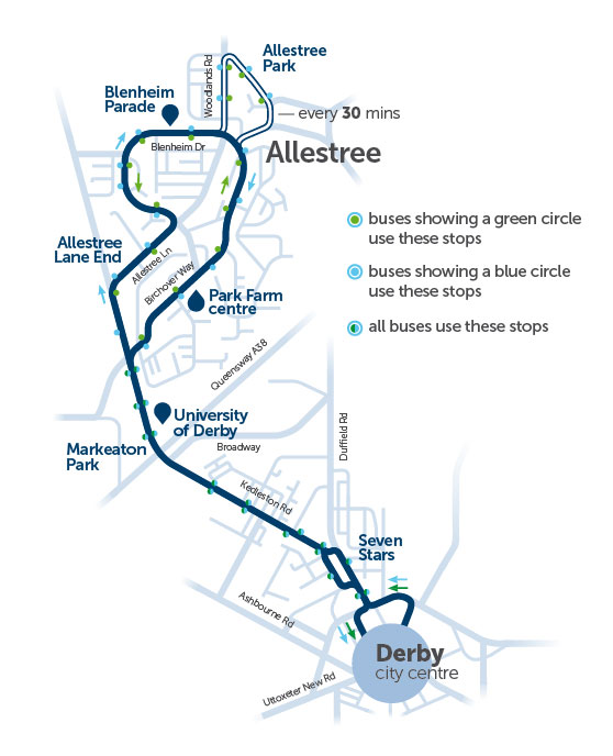 Map Of Uk Derby.Welcome Allestree Run By Trentbarton
